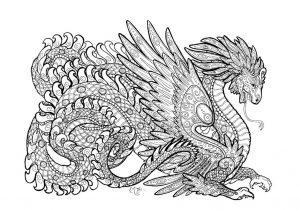 раскраска антистресс большой дракон
