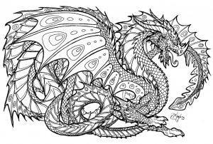 раскраска антистресс дракон