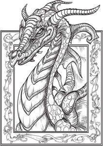 раскраска антистресс дракон готовится к бою