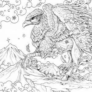 раскраска антистресс дракон грифон