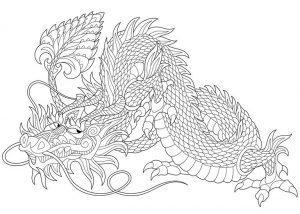 раскраска антистресс дракон грустит