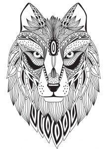раскраска антистресс голова волка распечатать