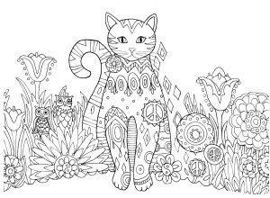 раскраска антистресс кот на прогулке