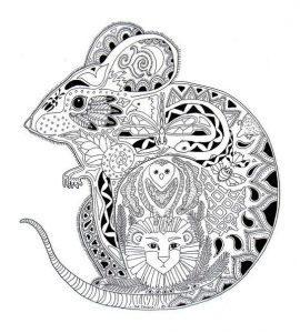 раскраска антистресс мышь