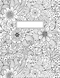 раскраска антистресс обложка на тетрадь цветочки
