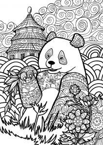 раскраска антистресс панда