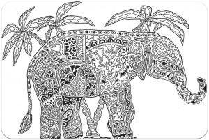 раскраска антистресс слон под пальмами