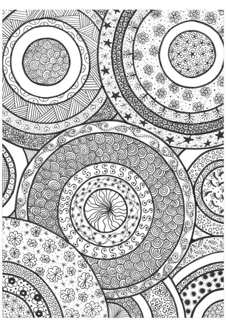 раскраска антистресс сложные круги