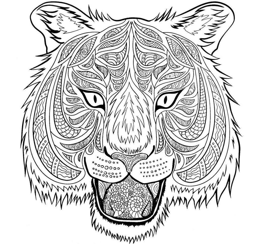 Раскраски антистресс тигр распечатать