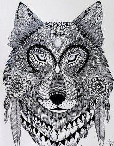 раскраска антистресс волк красивый распечатать