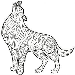 раскраска антистресс волк воет на луну распечатать