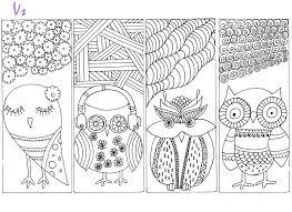 раскраска антистресс закладки совы