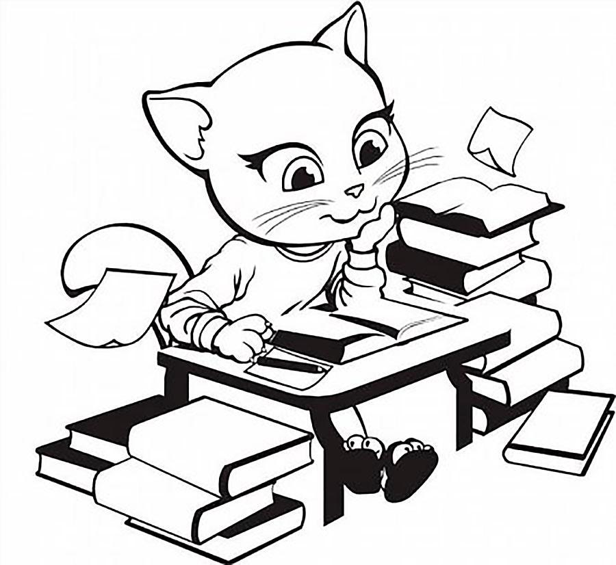 раскраска анжела кошка распечатать