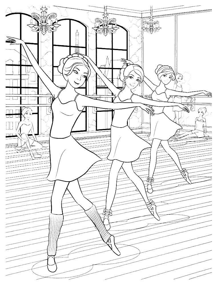 раскраска балерина без пачки