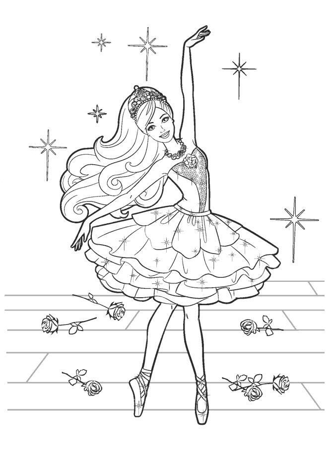 раскраска барби балерина