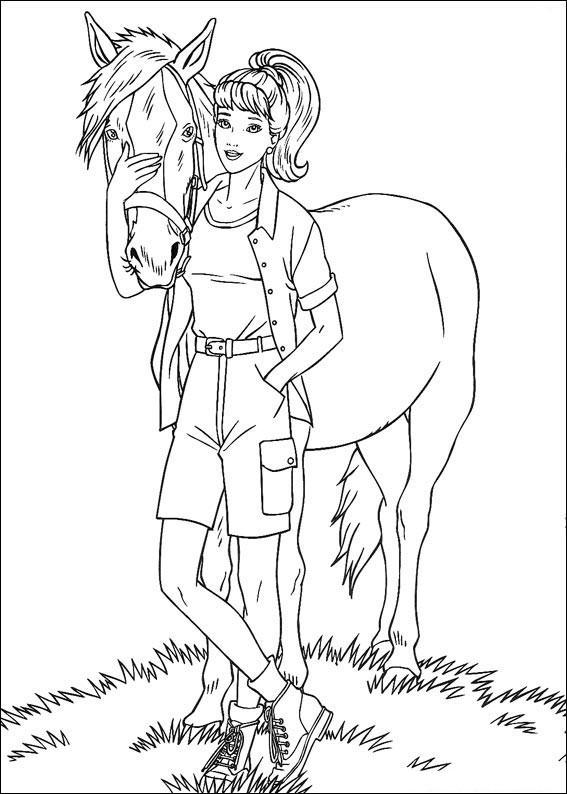 раскраска барби держит лошадь