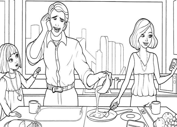 раскраска барби кухня