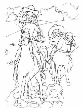раскраска барби на лошади с дочкой