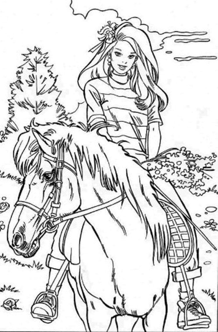 раскраска барби на лошади