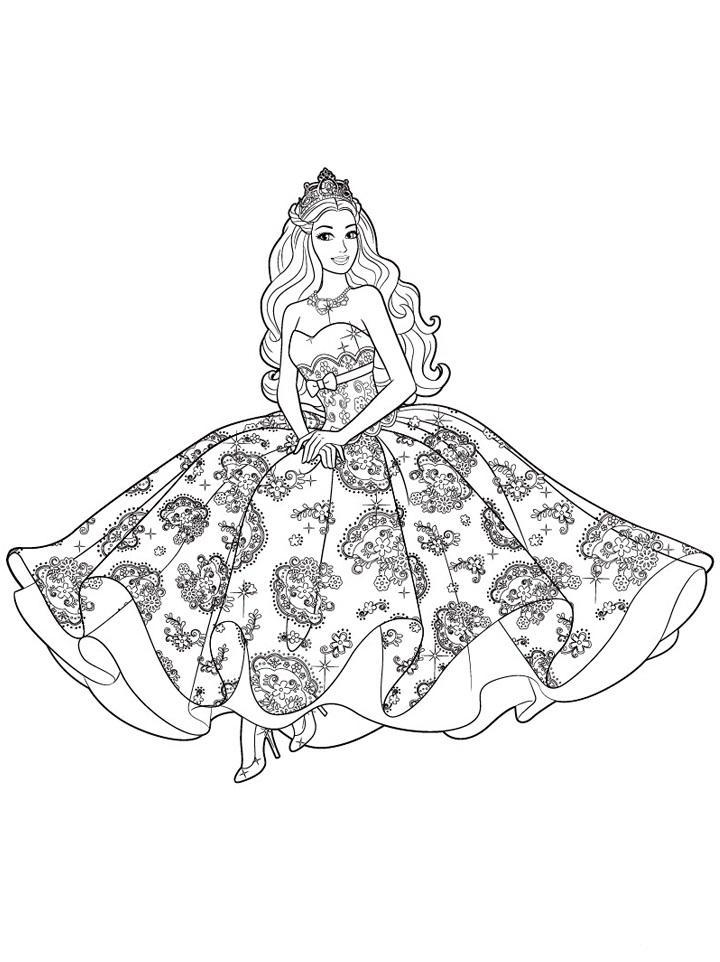 раскраска барби принцесса распечатать