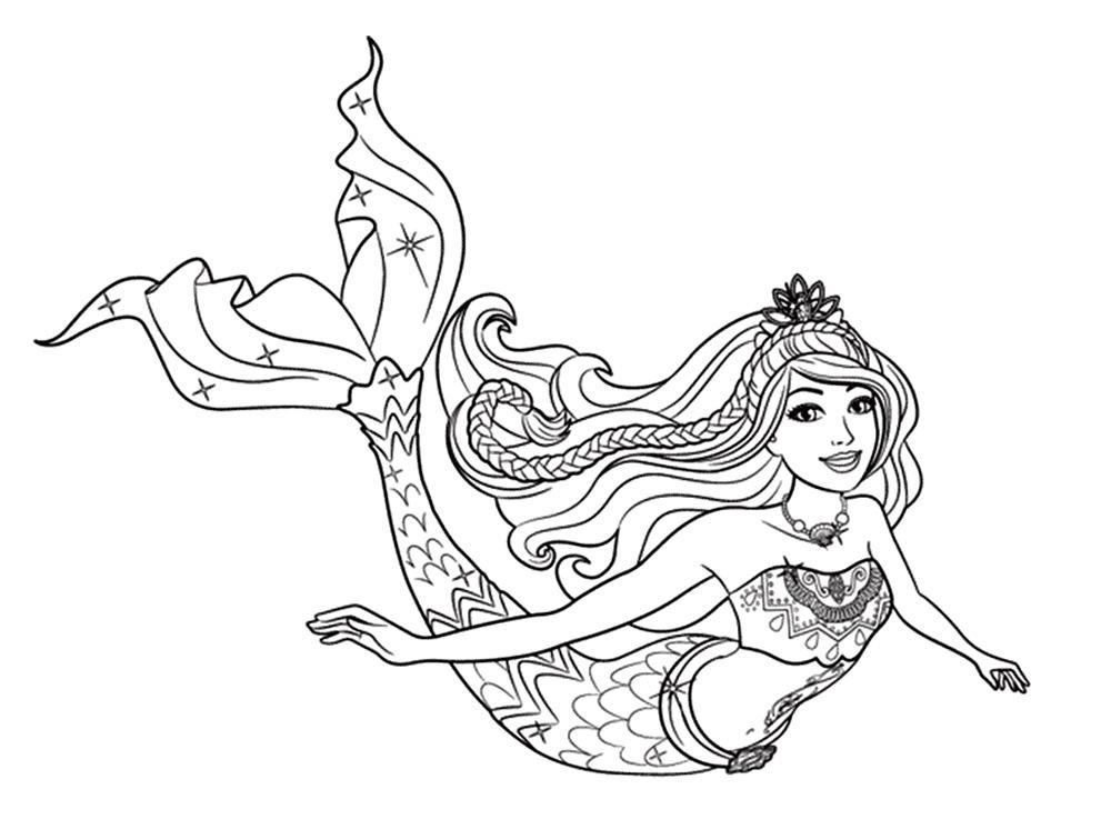 раскраска барби русалка
