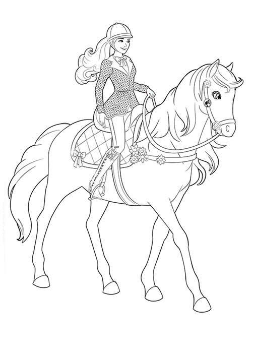 раскраска барби верхом на лошади