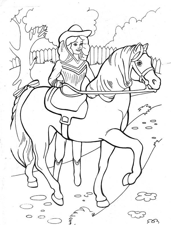 раскраска барби запрягает лошадь