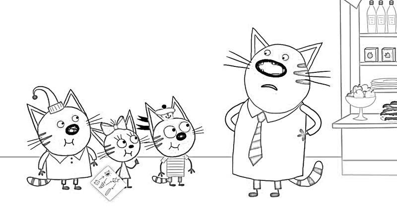 раскраска для девочек три кота и одна кошечка бесплатно