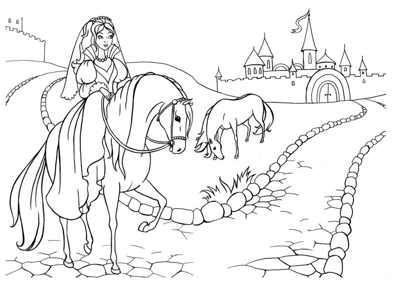 раскраска для девочек замки с лошадкой