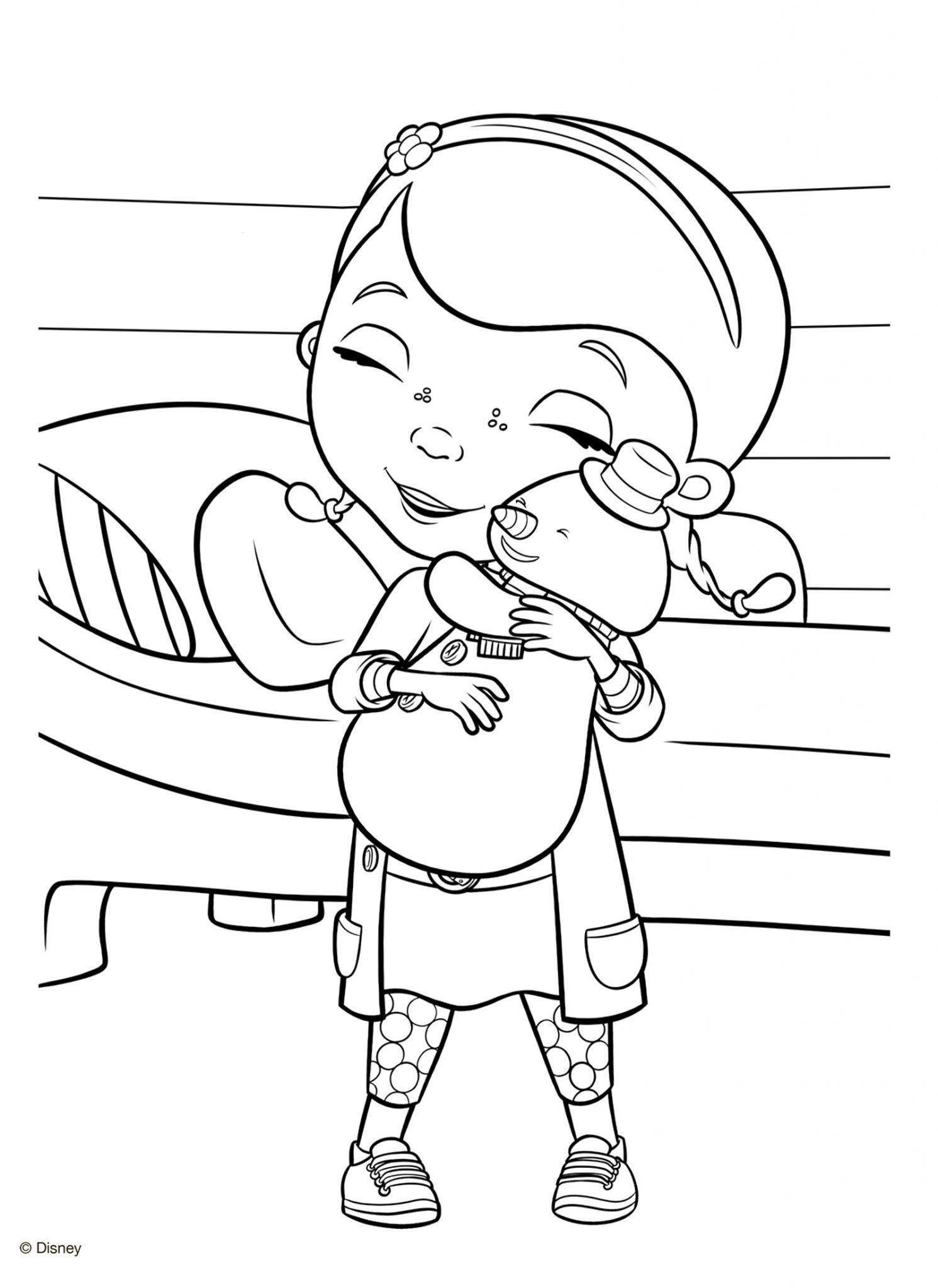 раскраска доктор плюшева обнимает снеговика