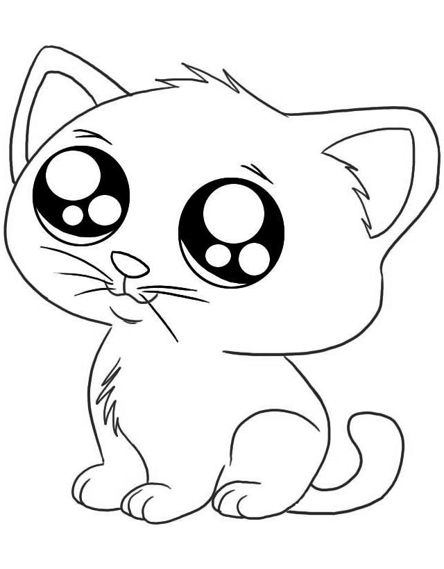 раскраска грустный котенок