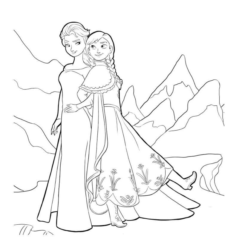 Раскраска Холодное сердце Анна и Эльза