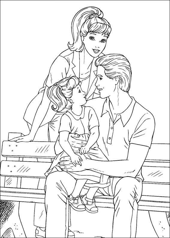раскраска кен барби и дочка