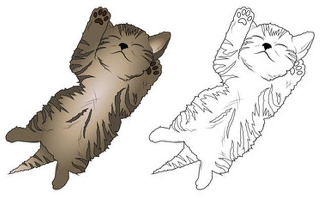 раскраска котенок лежит