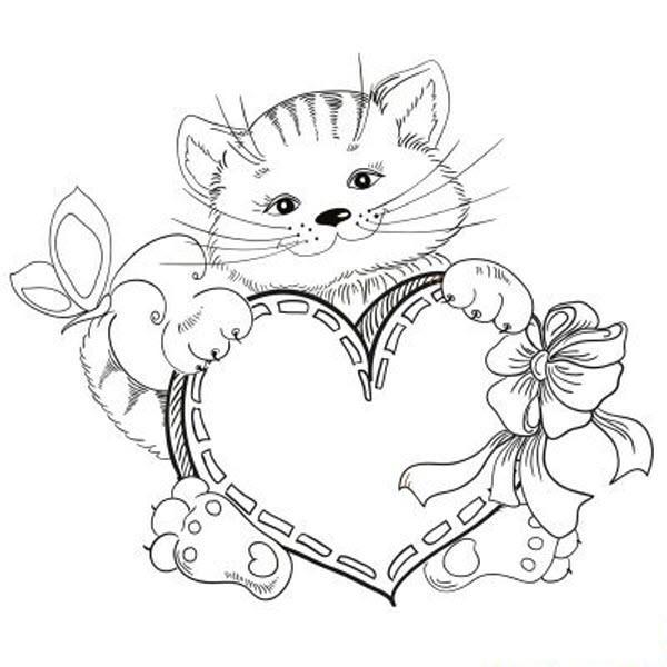 раскраска котенок с сердечком