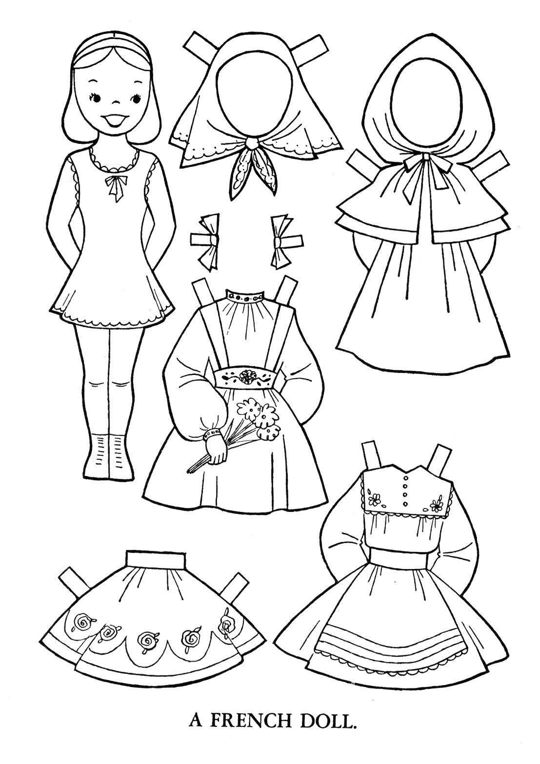 раскраска одежда для кукол распечатать