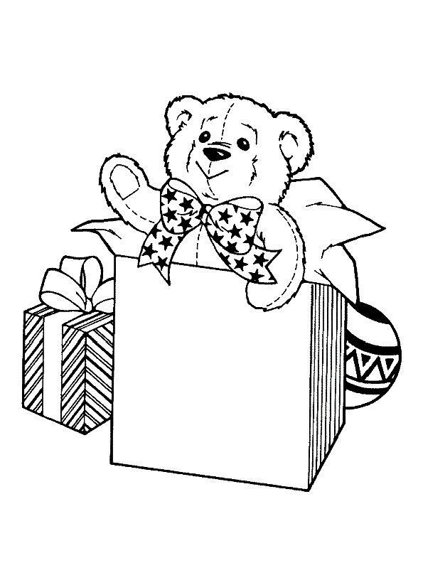 раскраска подарок с мишкой на день рождения распечатать