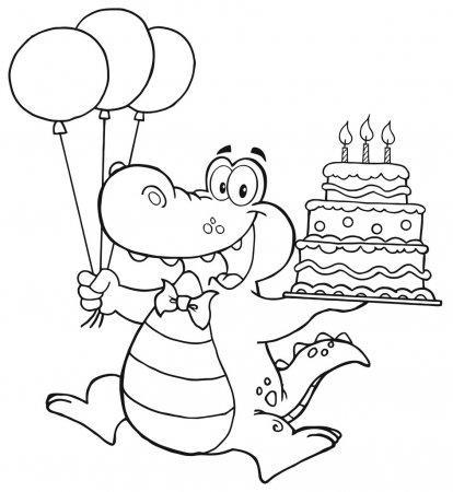 раскраска подарок торт и шарик на день рождения распечатать