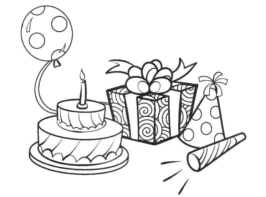Контур открытки с днем рождения друга