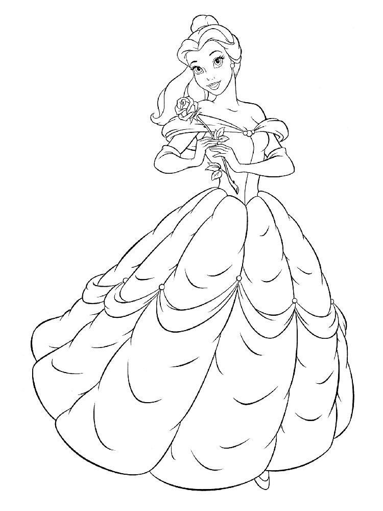 раскраски принцессы диснея распечатать бесплатно формат а4 бель грустит