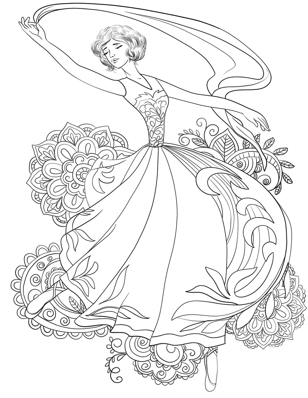 раскраска принцессы балерины