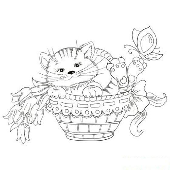 раскраска веселый котенок