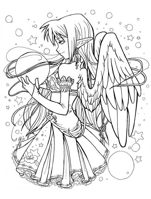 раскраски аниме для девочек сложные