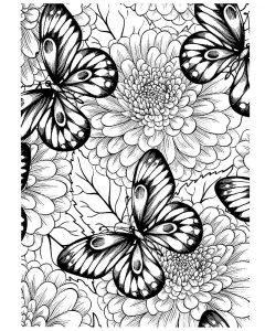 раскраски антистресс бабочки на пионах распечатать