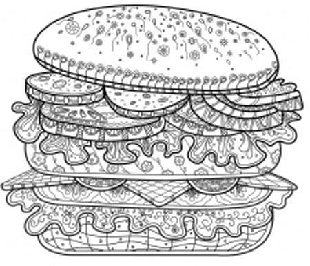 раскраски антистресс гамбургер распечатать