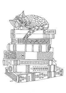 раскраски антистресс кошка спит на книгах