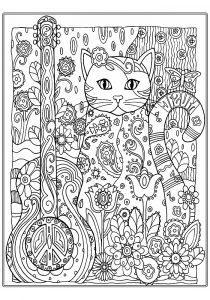 раскраски антистресс котенок с гитарой распечатать