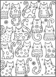раскраски антистресс котята забавные распечатать