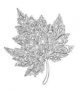 раскраски антистресс лист кленовый