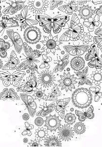 раскраски антистресс много бабочек распечатать